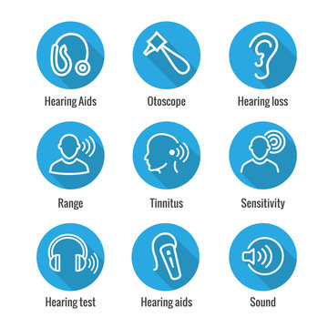 Hearing Aid or loss with Sound Wave Images Set