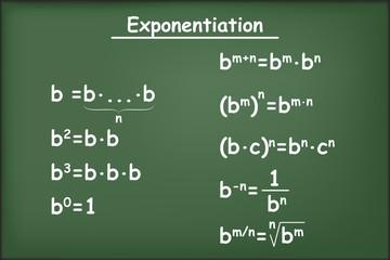 Properties of exponents on green chalkboard vector