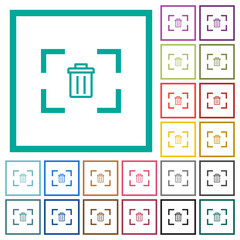 Delete image from camera flat color icons with quadrant frames