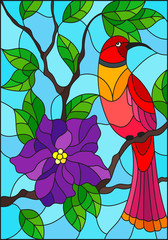 Illustration in the style of stained glass with a beautiful red bird sitting on a branch of a blossoming tree on a background of leaves and sky