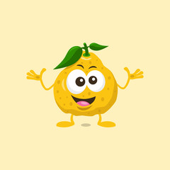Illustration of cute decisive ugli fruit mascot isolated on light background. Flat design style for your mascot branding.