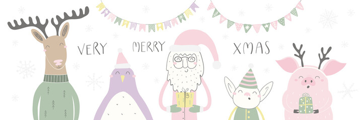 Hand drawn vector illustration of a cute funny Santa, deer, penguin, elf, pig, with quote Very Merry Xmas. Isolated objects on white background. Flat style design. Concept for Christmas card, invite.