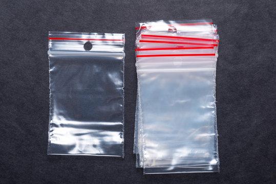 Set of polyethylene zip lock bags on black background