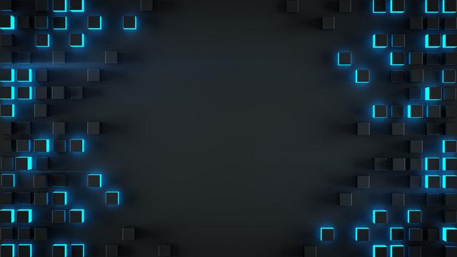 Frame of blue cubes 3D rendering