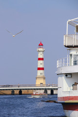 Malmö, Old Lighthouse, Seagull, Boat