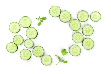 Sliced cucumber and mint background with copyspace