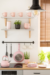 Real photo of kitchen interior with pastel pink mugs and bowls on shelves, fresh plants and homemade sponge cake on countertop