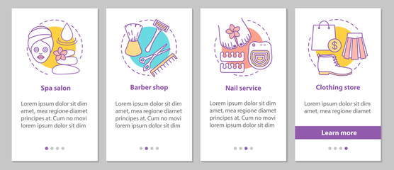 Beauty services onboarding mobile app page screen with linear co