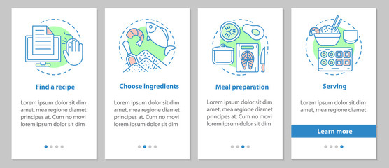 Catering onboarding mobile app page screen with linear concepts