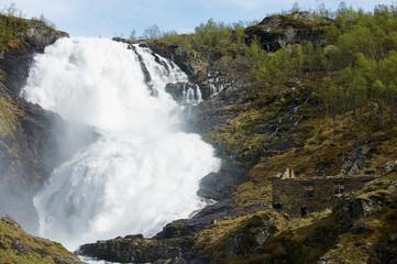 The Kjosfoss waterfall along the Flamsbana to Myrdal railway track in Norway.