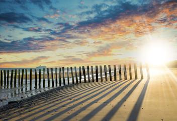 coucher ou lever  de soleil sur la plage