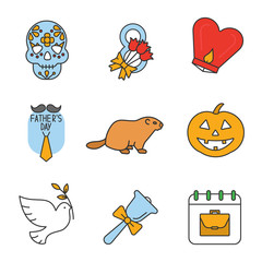 Holidays color icons set