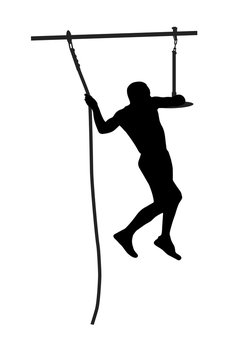 Black silhouette of a man overcoming the obstacle.