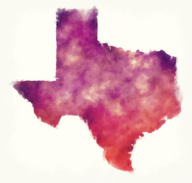 Texas state USA watercolor map in front of a white background