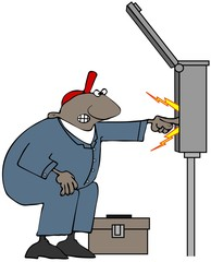Illustration of a black electrician wearing coveralls sticking his hand into a large circuit breaker box with sparks coming out.
