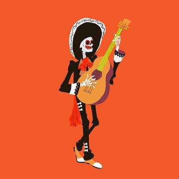 El mariachi skeleton musician. Guitarist character isolated on red background. Dia de los muertos vector illustration.