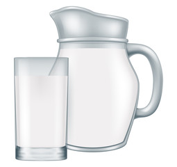 Pitcher and glass of milk. Vector illustration.
