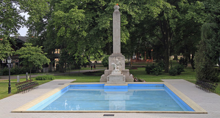 the eternal fire and pool in park of Gyor