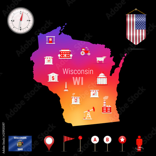 Wisconsin Vector Map, Night View  Compass Icon, Map Navigation