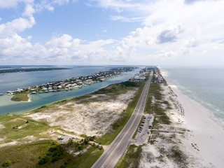 Aerial view of Orange Beach, Alabama & Ono Island