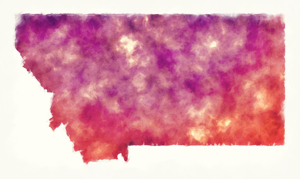 Montana state USA watercolor map in front of a white background