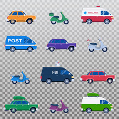 Isolated collection of different cars like ambulance and post minivan