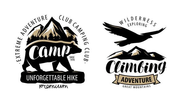 Camping, climbing logo or label. Hike, camp emblem. Vintage vector