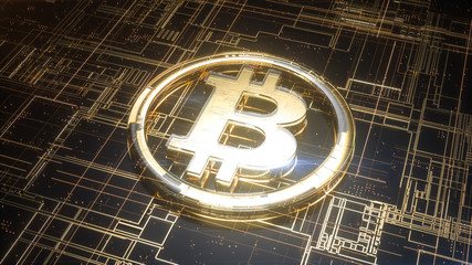 Gold and glass bitcoin sign on top of circuit board. Cryptocurrency symbol on digital technology surface with lines and particles. 3d rendering