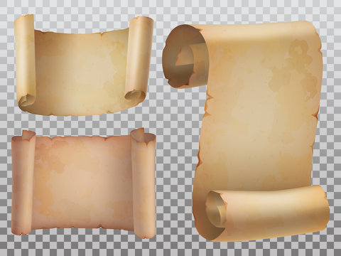 Isolated old manuscript or ancient paper scrolls icons set