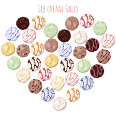 Group of vector colorful illustrations on the sweets theme; set of different kinds of ice cream ballls grouped in the heart.