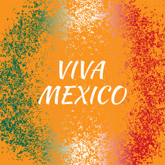 Independence Day of Mexico. Concept of the Mexican national holiday. Flag colors and grunge orange background