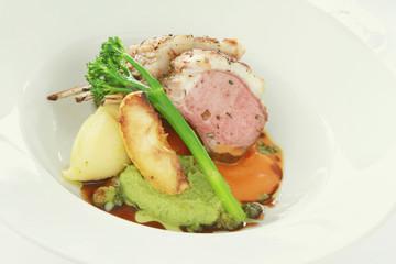 plated lamb main meal