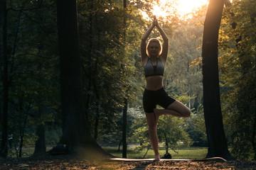 young beautiful female practicing ashtanga yoga in green park; Wall mural