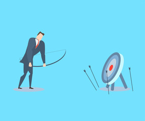Happy young businessman does not hit the target.