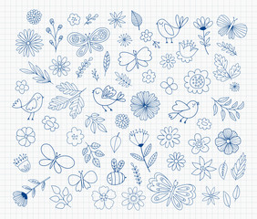 Cute doodle flowers, birds, butterflies. Hand drawn floral illustrations. Vector design elements.