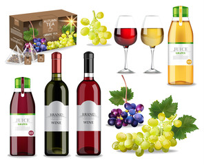 Grapes drinks set collection with wine, juice and tea Vector realistic. Product packaging mock up. Label design detailed 3d illustrations