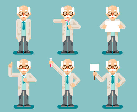 Experiment old wise smart scientist chemical test tubes cartoon flat design icons set vector illustration