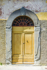 door with wooden arch craft of ancient building