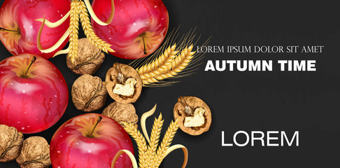 Autumn time banner with apples and walnuts Vector realistic. Detailed 3d design. dark backgrounds