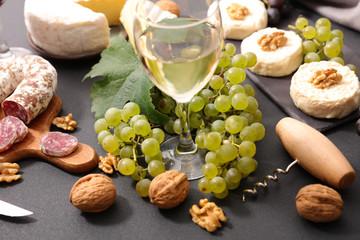 grape, wine and cheese