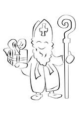 Sinterklaas vector illustratie met kado en staf