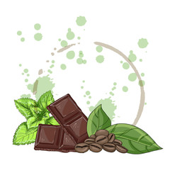 Fototapeta Set with mint, chocolate and grains of coffee on a white background vector illustration obraz