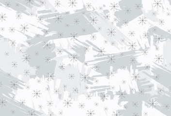Background with gray brush strokes and snowflakes.