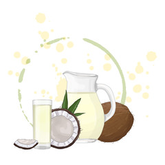 Glass pitcher and glass with coconut milk vector illustration