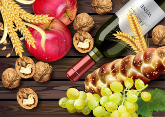 Autumn time banner Vector realistic. Wine bottle, grapes, and walnuts. Detailed 3d design. Wooden backgrounds