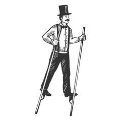 Man on stilts engraving vector illustration