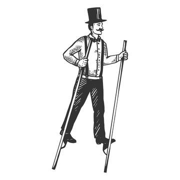 Man on stilts engraving vector illustration