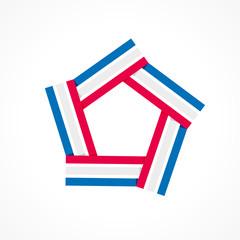étiquette, logo bleu-blanc-rouge