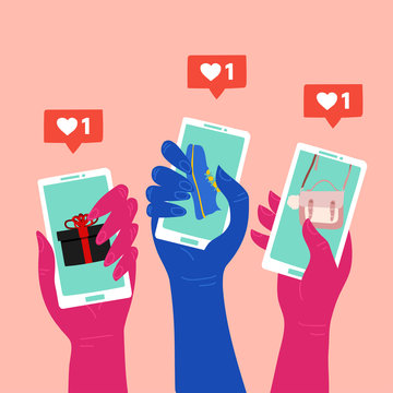 Social media marketing reaching potential customers. People hands holding smartphones with shop items on the screen.