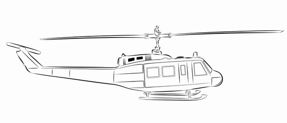 illustration of helicopter. vector drawing